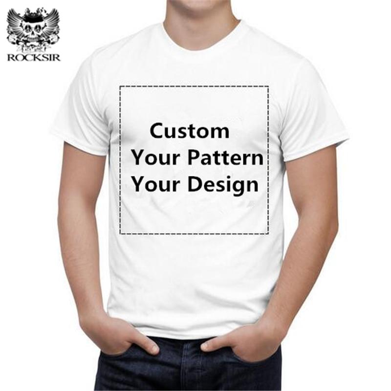 Rocksir Women Customized Graphic printed t-shirt 100% Cotton Men Tee Shirt casual Basic Tshirt Your own design black white