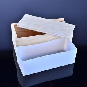 Image 3 - Molde pequeno do pão do retângulo do molde do sabão do silicone com caixa de madeira diy sabonete feito à mão que faz a ferramenta