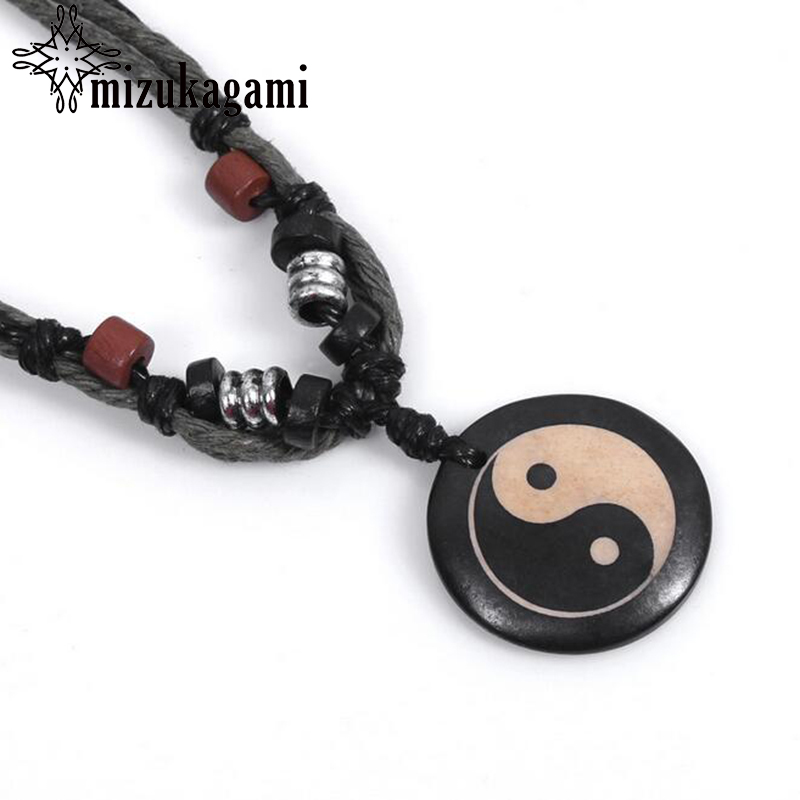 Chinese Tradition Tai Chi Pendant Necklace Pure Handmade Ox Bone Yin Yang Fish Gossip Pendant Necklace Amulet Mens Jewelry ...