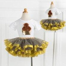 Из двух предметов комплект для девочек летнее платье-пачка из хлопка с цветочным принтом Футболка + комплекты с юбкой-пачкой Детская Одежда для танцев Выходные туфли на выпускной бал одежда