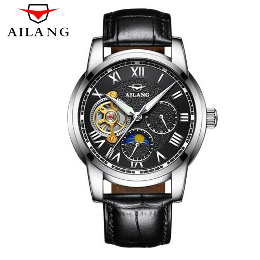 Relogio Masculino AILANG Automatic Tourbillon Men Mechanical Watch Golden Top Brand Luxury leather Skeleton Wristwatch