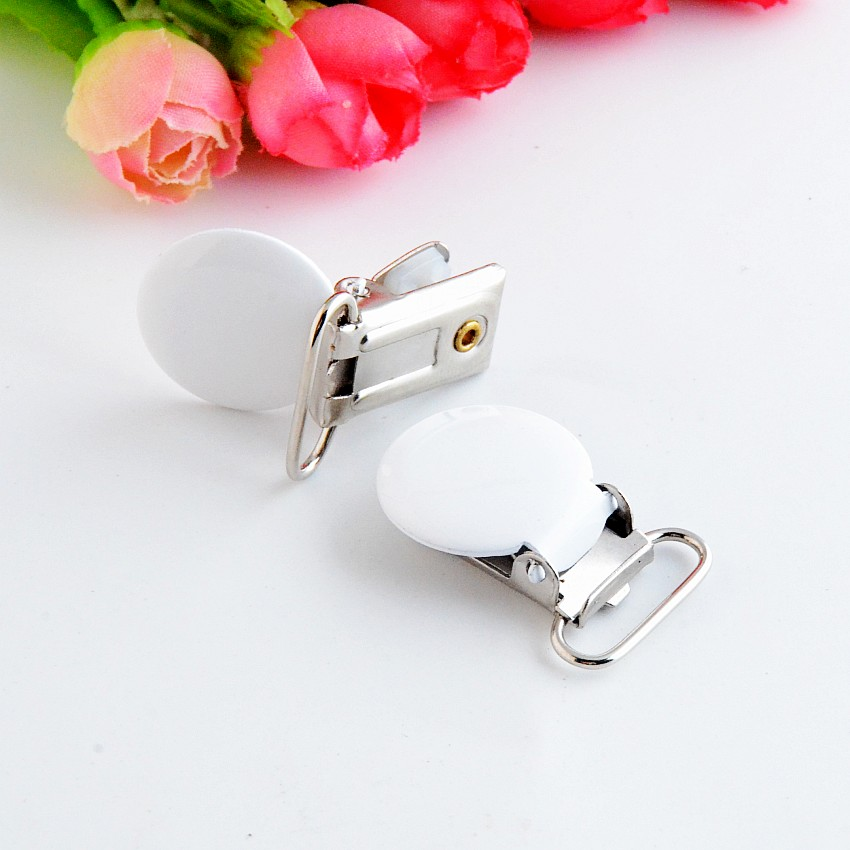 Free Shipping 5PCs Lead Free Metal Suspender Pacifier Clips With Plastic Craft Sewing Tool 35x22mm F1027