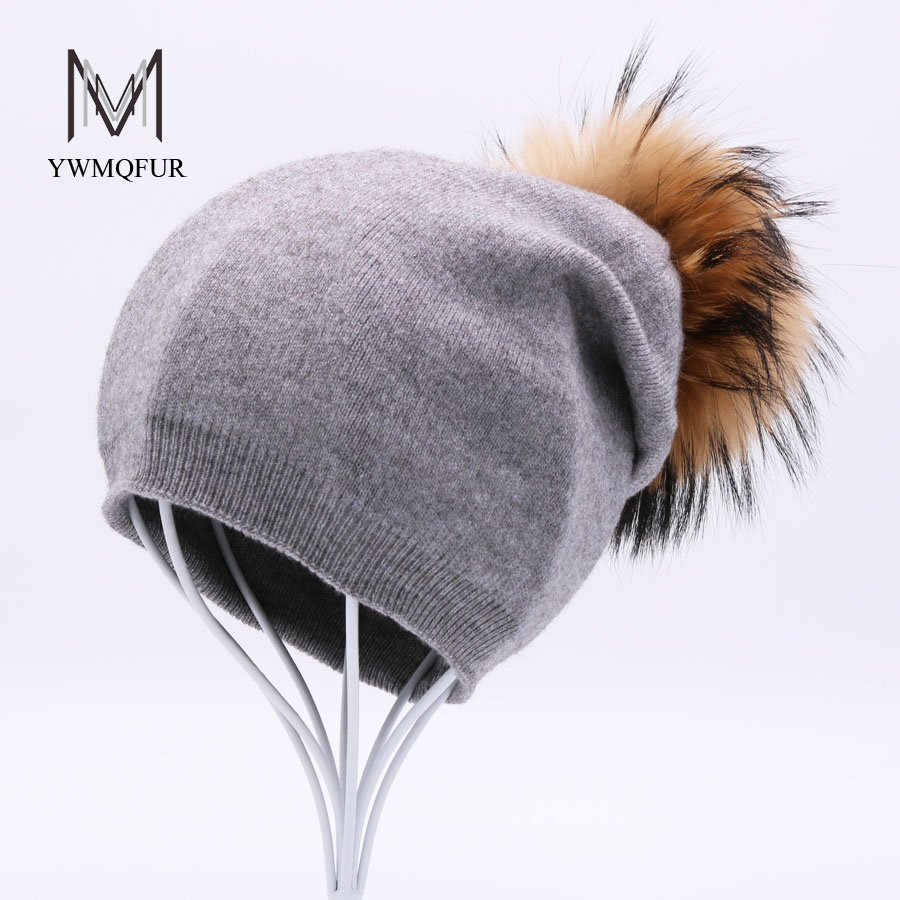YWMQFUR Winter hat for women wool knitting caps beanies real raccoon fur pom poms warm hats Skullies girls hat gorros cap H119 new star spring cotton baby hat for 6 months 2 years with fluffy raccoon fox fur pom poms touca kids caps for boys and girls