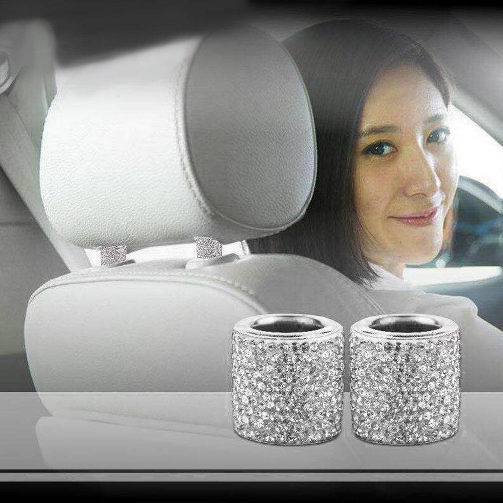 Women Car Seat Headrest Collar Ring Rhinestone Decor Bling Ornaments
