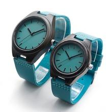 Reloj de pulsera de cuarzo de madera con correa de cuero genuino azul de marca de lujo