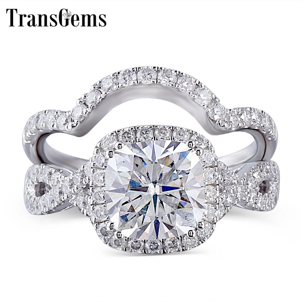 TransGems Solid 10K White Gold Engagement Bridal Set Center 2ct 7.5MM Square Cushion Cut Halo Moissanite Ring for Women