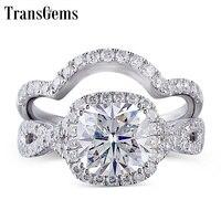 TransGems Solid 10K White Gold Engagement Bridal Set Center 2ct 7.5MM Square Cushion Cut Halo Moissanite Ring Set for Women