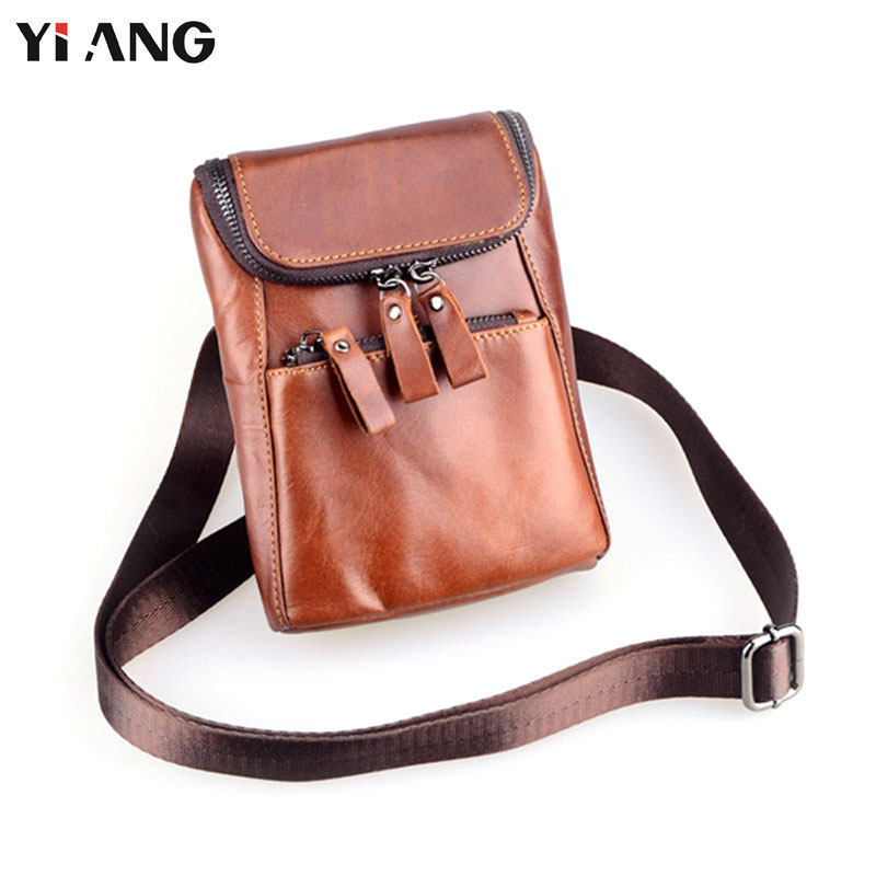 YIANG Mini Vintage Shoulder Bags for Men Fashion Genuine Leather Cross Body Bag Waist Packs Mobile Phone Bag Pouch 2 Zippers