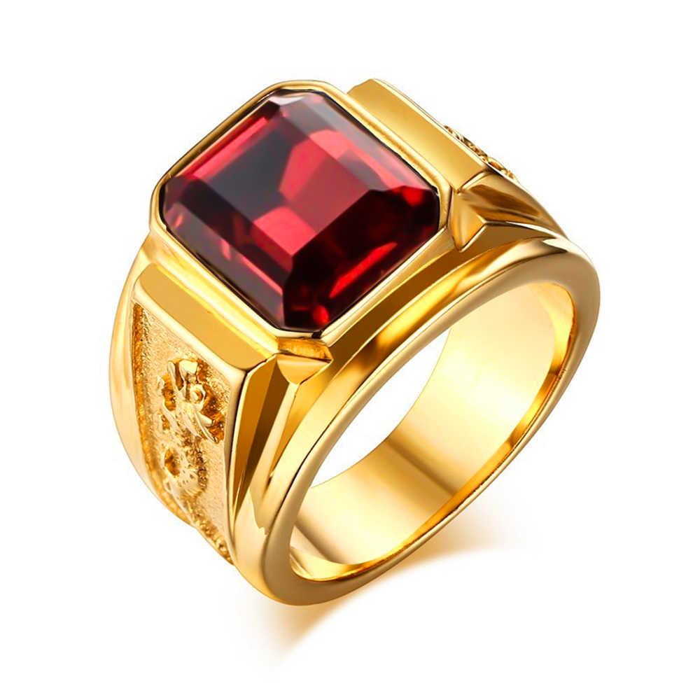 2019 ใหม่อินเทรนด์แหวนผู้ชายสีดำ/หินสีแดงด้านบนโลหะผสมทองหลายสีทุกวันชายเครื่องประดับของขวัญ Party ขนาด 6-13