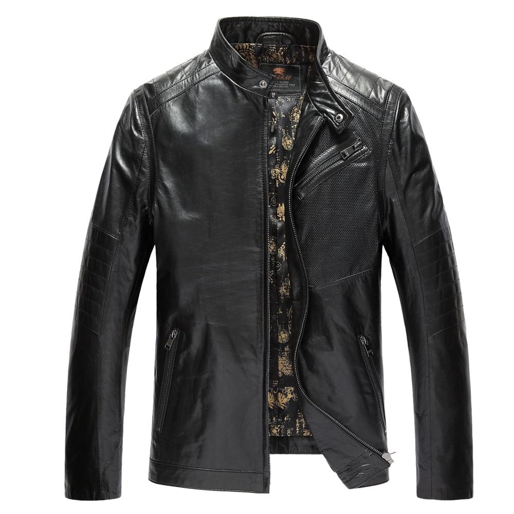 Brand font b Mens b font Genuine Leather font b Jackets b font 100 Goatskin Black