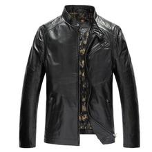 Brand Mens Genuine Leather Jackets 100% Goatskin Black M-4XL Spring Leather & Suede Men Genuine Leather Jaket Coats