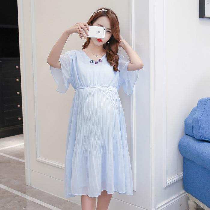 2018 New Arrival Women Maternity Dress Summer Casual Pregnancy Dresses for Women V Neck Pregnant Clothing