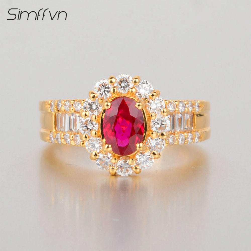 Classic Style 0.81Ct Ruby Gemstone Ring With Client Stated Natural Diamond Stamped By 18K Yellow Gold Engagement Ring For Women