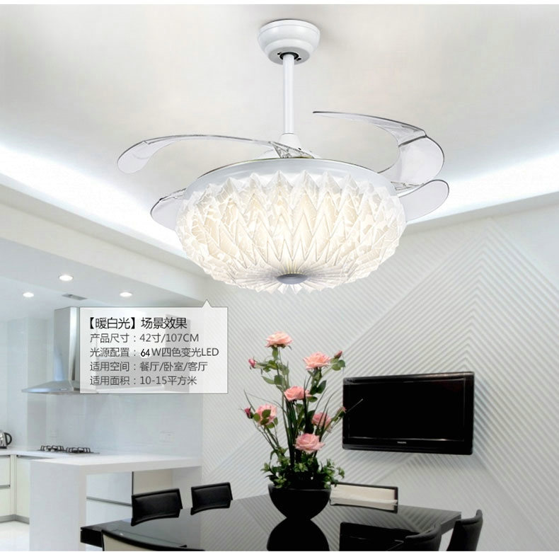 42 Inch 107cm Invisible Ceiling Fan Modern/Contemporary White Feature For  LED Metal Bedroom Dining