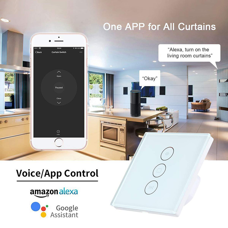 Image 3 - EU / US Wifi touch curtain switch wall switch voice control by Alexa /Google phone control For Electric curtain motor smart home-in Home Automation Modules from Consumer Electronics