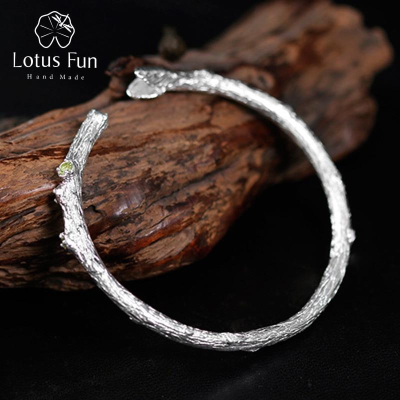 Lotus Plaisir Réel 925 En Argent Sterling Naturel Topaze Pierre Original À La Main Fine Jewelry Top qualité Branche D'arbre Bracelet pour les Femmes B