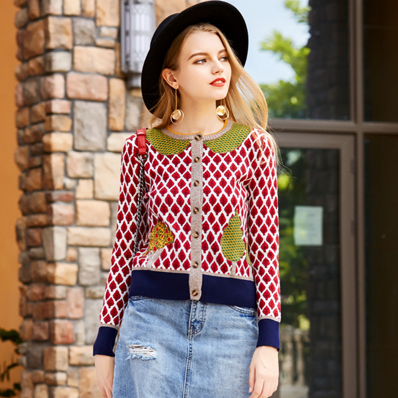 Women Cardigans 2017 Fashion Single Breasted Plaid Tree Leaves Pattern Knitted Tops Short Sweater Jackets Coat