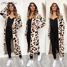 2018 Winter Leopard Print Women Loose Cardigan Sweater Outerwear Casual Knitted Long Coat Sweater Cardigan Female Wool Sweaters bear print buttoned knitted cardigan