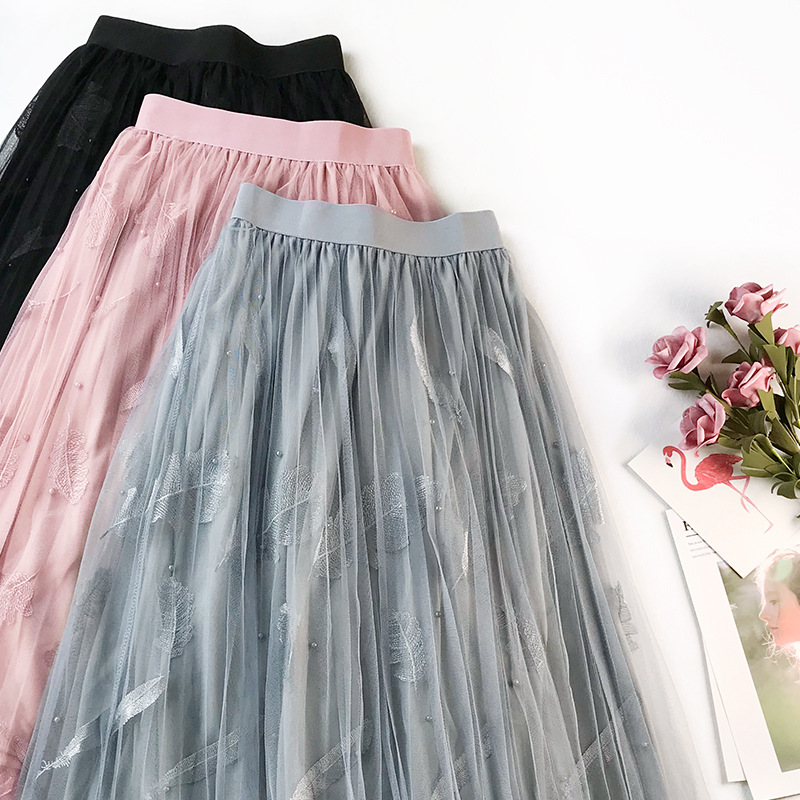 Wasteheart Spring Pink Black Women Skirt A-Line Casual Mid-Calf Embroidery Skirt Mesh Clothing Sexy Sweet Sexy Long Skirts