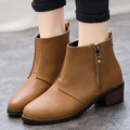 2016 Warm Boots With Fur Inside PU Leather Soft Square Heel Women Fashion Boots Zipper Ankle Boots