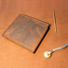 Handmade Crazy Horse Leather Men Wallets Vintage Genuine Leather Wallet For Men Cowboy Top Leather Wallet  Cowhide Money Clip