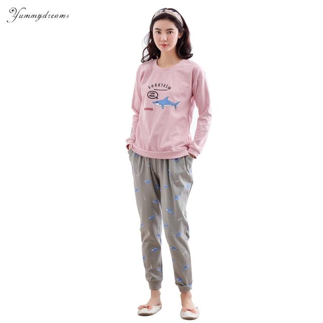 ba9df14a1 Yummydreams 2017 Otoño Manga Larga de Las Señoras Pijama Conjunto Pijama De  Algodón para Mujeres Pijama