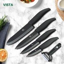 Ножи для шашлыков комплект Керамика Ножи набор 3 4 5 6 дюймов циркония Керамика черный и белый клинок Пособия по кулинарии обстрагывая Фрукты шеф-повар ножи для шашлыков