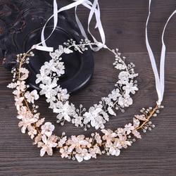 Fashion New Flower Hair Jewelry Gold Silver Handmade Headband Crystal Rhinestone Hairband Bridal Women Wedding Hair Accessories