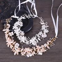 Fashion New Flower Hair Jewelry Gold Silver Handmade Headband Crystal Rhinestone Hairband Bridal Women Wedding Hair