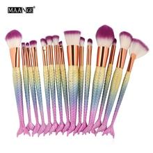 Professional 15PCS Mermaid Makeup Brushes Set Foundation Blending Eyebrow Eyeliner Blush Blending Contour Cosmetic Make Up Tools