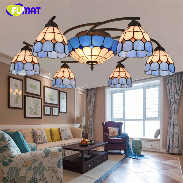 FUMAT Creative Brief Modern Mediterranean Blue Shade Ceiling Lights Home  Decor Living Room Stained Glass Art