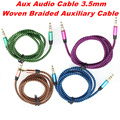 BrankBass 1M Colorful Woven Fabric Braided Auxiliary Aux Audio Cable 3.5mm Jack Male to Male Cord for iphone4S 5C for Samsung