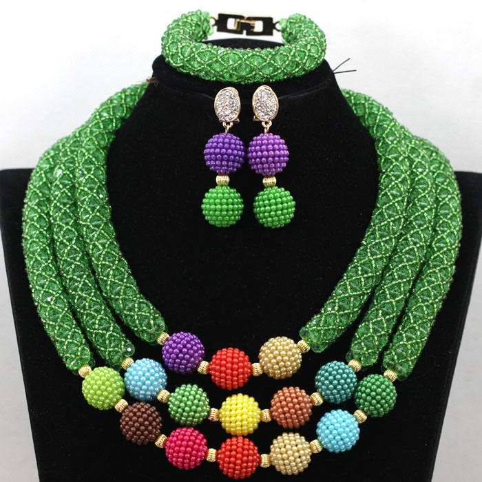 Popular Green Nigerian Bridal Women Beads Jewelry Set Handmade African Crystal Braid Necklace Set With Balls Free Shipping QW333 luxury african beads bridal jewelry set 3 rows green crystal balls necklace set women costume jewelry set free shipping abc990