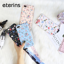 ФОТО eterins full cover flowers floral hard phone cases for iphone 6 s front back case for iphone 7 8 plus portable strap landyard