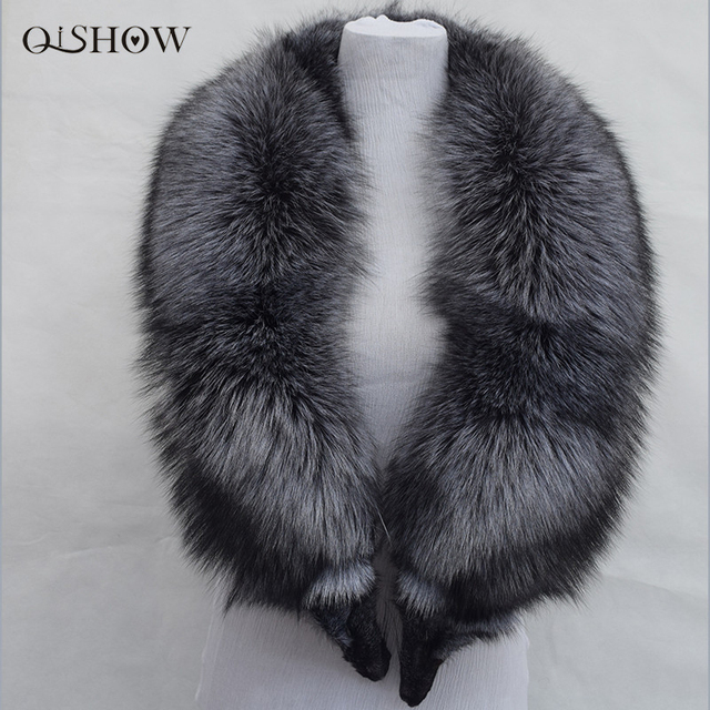 New 100% Natural Fur Collar Luxury Silver Fox Fur Collar Ring Scarf 130cm Women Genuine Fox Fur Collar for Down Jacket Wholesale