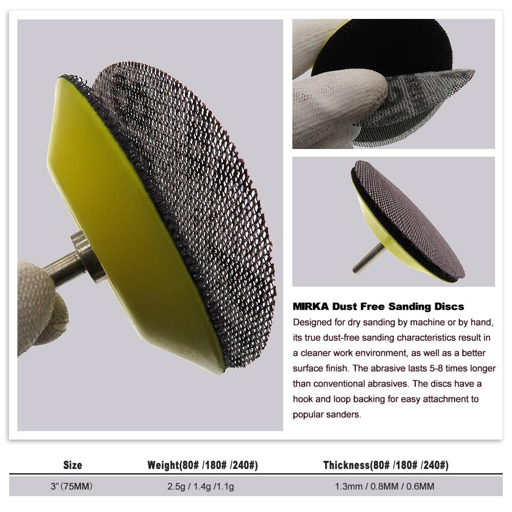 Image 4 - 15 pièces maille Abrasive sans poussière disques abrasifs 3 pouces 75mm Anti blocage sec meulage papier abrasif 80 à 240 grainOutils abrasifs   -
