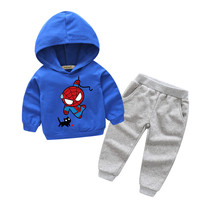 2018 Children Cartoon 3D Spiderman Printing Cotton Clothes Suits Kids Outdoor Hooded Coat Sport Sets Boy