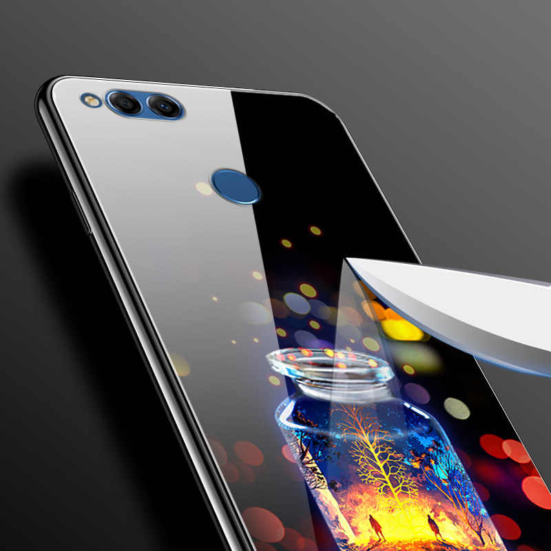 Untuk Huawei Honor 7X Honor7X Keras Kaca Back Cover untuk Huawei Honor 9 untuk Huawei Honor 10 tas Cover Honor10