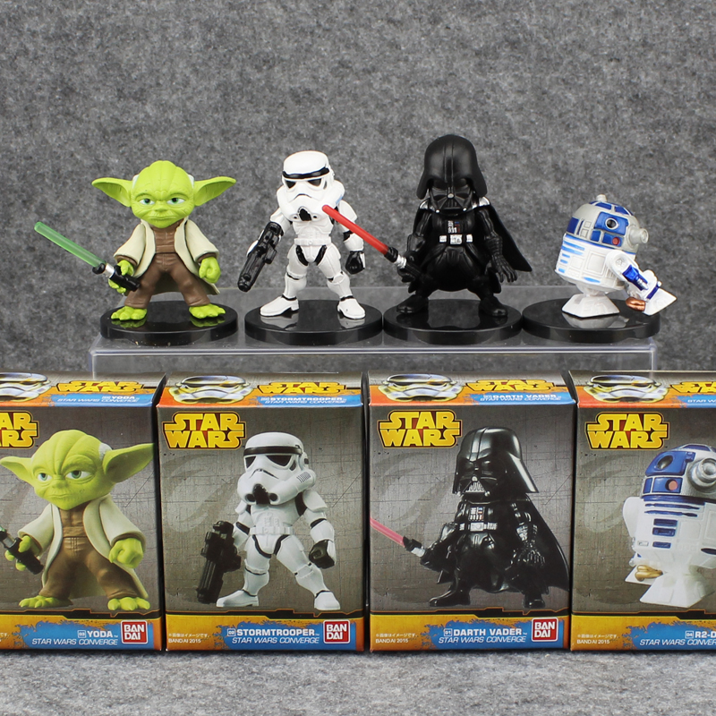 4pcs Cute Star Wars 7 The Force Awakens Darth Vader Yoda R2-D2 Stormtrooper Boxed 6cm PVC Action Figure Model Doll Toys Gift crazy toys 1 6 star wars the force awakens kylo ren movie pvc action figure collectible model toy 29 5cm