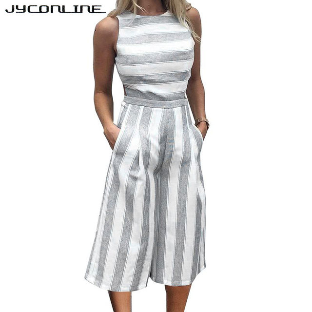 4bd9f1155bac JYConline Casual Sleeveless Rompers Womens Jumpsuit Hollow Striped Jumpsuit  Overalls Loose Playsuit Women Outfit Wide Leg Pants