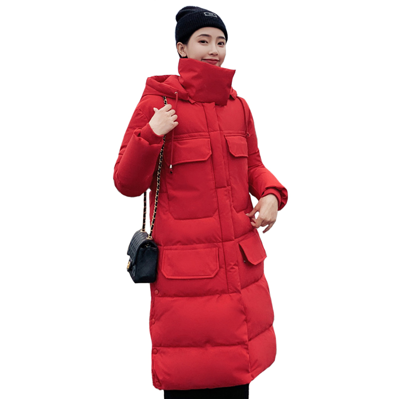 2019 New Women Winter Jacket High-necked Warm Thicken Winter Coat Women Hooded Plus Size 3XL Cotton Padded Female Long   Parka