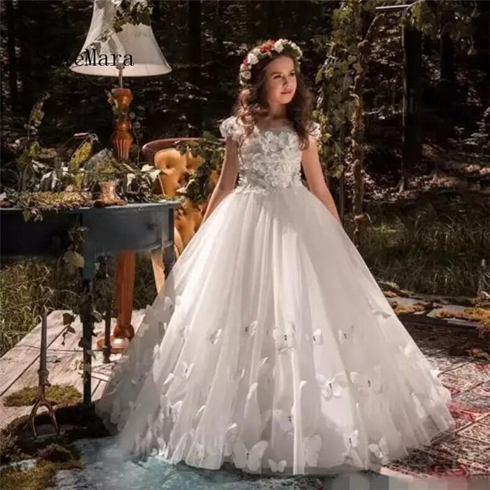 Princess White Flower Girl Dresses 3d Butterfly Applique Cap Sleeves