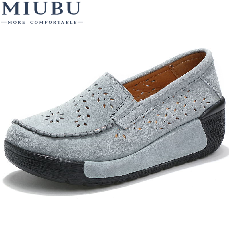 MIUBU 2019 Spring Women Shoes Platform Shoes Hand-Sewn   Leather     Suede   Casual Shoes Slip On Flats Tassels Creepers Ladies Shoes