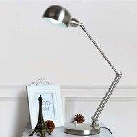 2017 Led 5W Table Lamp Iron Morden American Foldable Long Arm Desk Lamp Reading Lamp E27 110V 220V Clip Office Lamp For Study