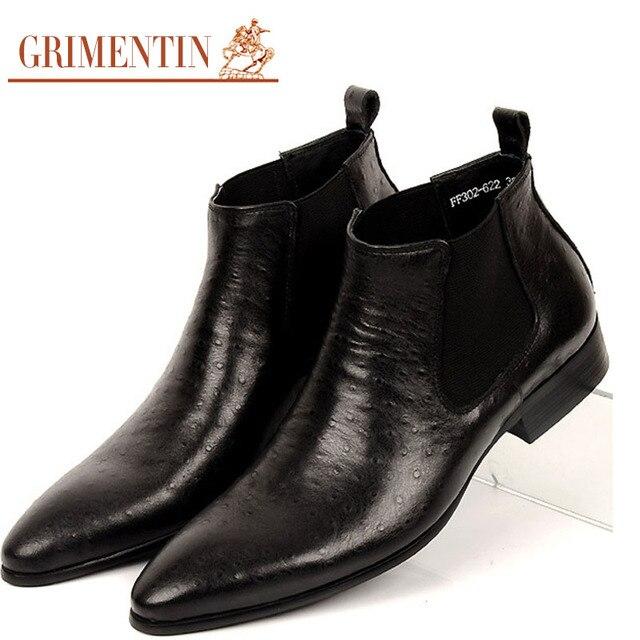 109f8cdc5 GRIMENTIN ماركة أزياء رجالي حذاء من الجلد جلد طبيعي مريح لينة البني الأسود  الزفاف حذاء رجالي