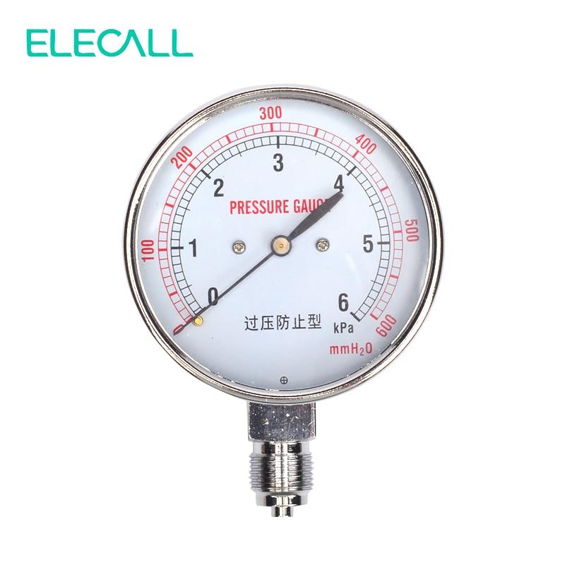 ELECALL Nuovo YE-75 0-6KPA G3/'Aria di Pressione A Membrana Gauge Bronzo di Fosforo Box Pellicola di Pressione Gauge Positivo Misuratore di Pressione