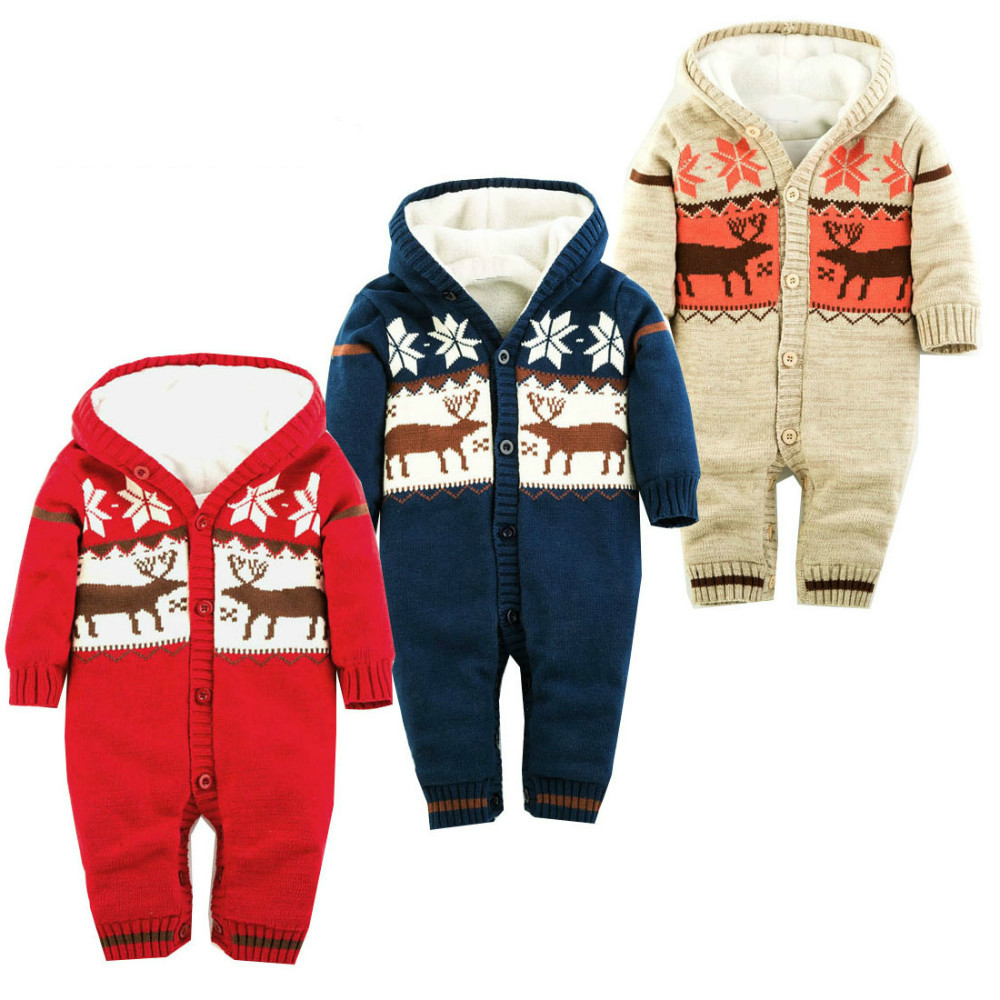 Thick Warm Infant Baby Rompers Winter Clothes Newborn Baby Boy Girl Knitted Sweater Jumpsuit Christmas Deer Hooded Outwear CA422 холодильник pozis rs 411 w