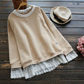 Spring Autumn Plus Size Casual Long Sleeve Solid Lace Layer Hem Mori Girl Women Fake Two Pieces Cute Kawaii Sweatershirt V001