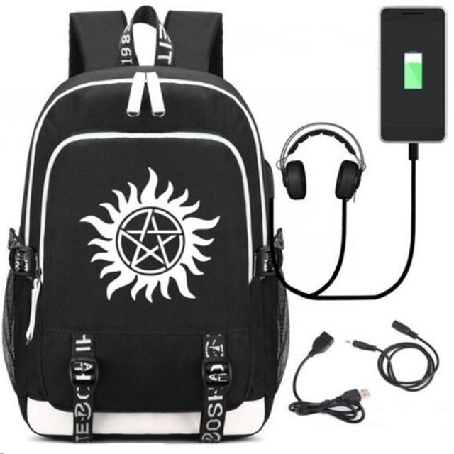 New Supernatural Spn Rucksack Backpack Fans Bag W Usb Charging Port Lock Headphone