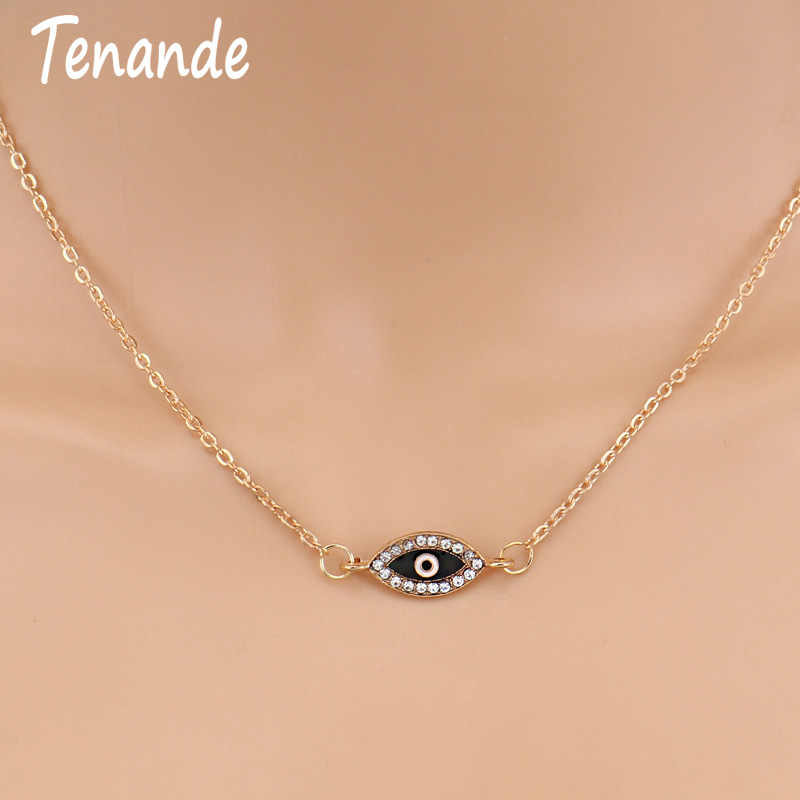 Tenande Fresh Style Gold Color Charm Chain Small Crystal Evil Eye Necklaces & Pendants for Women Party Jewelry Gifts Bijoux